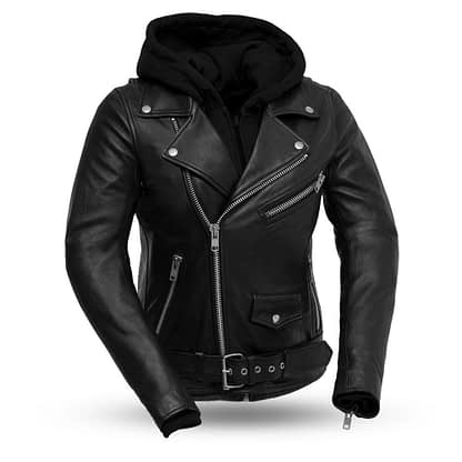 women's leather jacket with sweatshirt