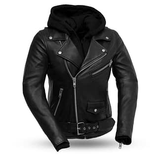 women's leather jacket with sweatshirt